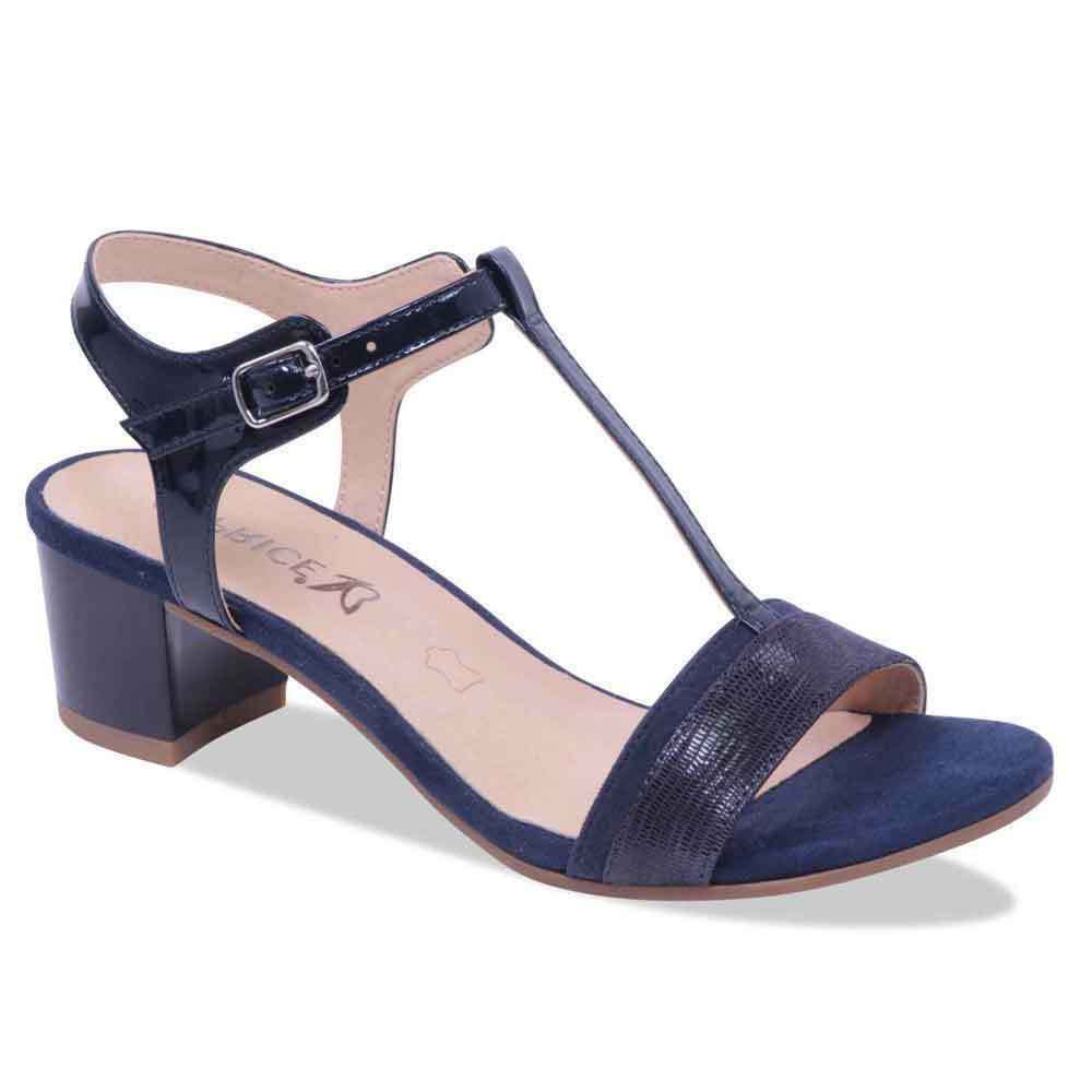 9da3bef9dc0 Caprice 9-28215-20 865 Navy Womens Real Leather T-Bar Sandals Block Heel  Buckle