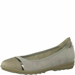 Jana 8-22104-20 Womens Taupe/Grey Soft Leather Suede Flat Slip On Ballerina Shoe