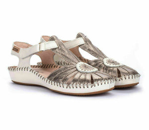 Pikolinos 855-8899C2 Womens Genuine Leather Hook and Loop Sandals Metallic Stone