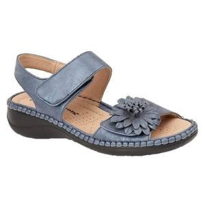 Boulevard L373CX Metallic Blue Women's Touch Fastening Lightweight Sandals