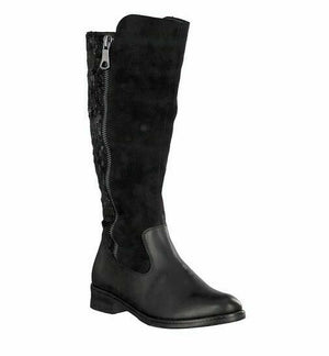 Remonte D8577-01 Womens Leather Suede Calf Boots Zip Up Stylish Patterned