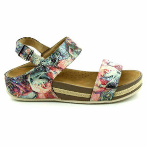 Heavenly Feet Nadia Navy Floral Women's Buckle Fastening Heel Strap Sandals