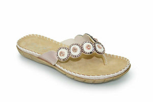 Lunar Bilbao JLY090 Rose GoWomen's Flip Flops Sandals Toe Post Diamond Gemstone