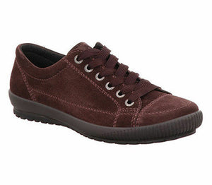 Legero 3-00820-59 Amarone Burgundy Women's Velour Lace Up Casual Trainers Shoes