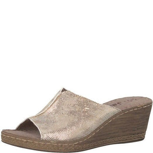 Jana 8/8 27210/20 Womens Platinum Snake Slip On Mule Clog Wedge Sandal H Fit