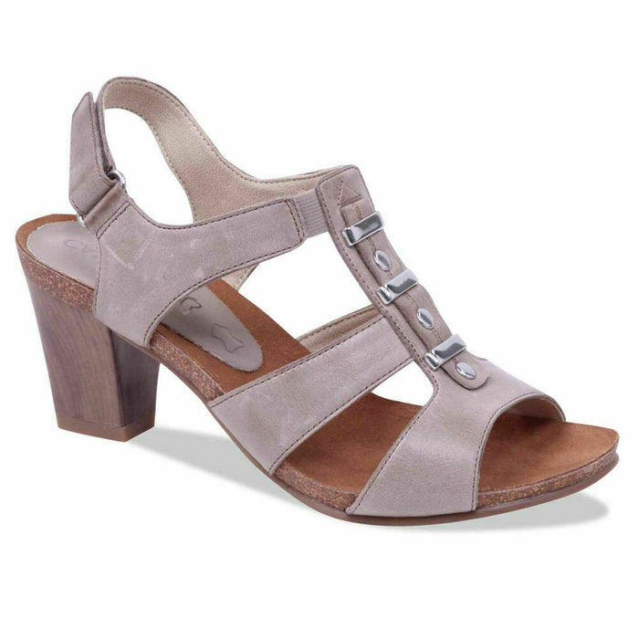 Caprice 9-28309-20 358 Taupe Womens Real Leather Slingback Heels Sandals