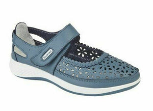 Boulevard L9552LC Azure Blue Womens Wide Fitting EEE Casual Comfy Shoes Leather