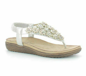Heavenly Feet Irene Toe Post Singback Slip On Sandals Floral Lightweight Silver