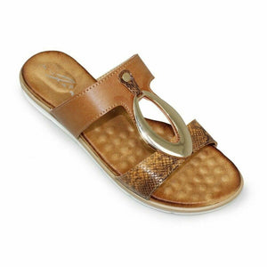 Lunar Felicity Brown Womens Slip On Stylish Snake Print Padded Summer Sandals