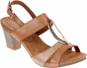Caprice 9-28307-20 357 Womens Slingback Heeled Buckle Leather Sandals Camel Sand