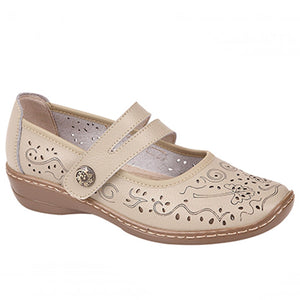 Boulevard L394BEX Beige Womens Touch Fastening Casual Comfy Real Leather Shoes