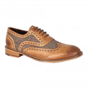 London Brogues Watson Tan Leather/ Tweed Mens Leather Brogues