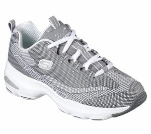Skechers 12283 Womens D'Lites Ultra Lace Up Trainers Memory Foam Shoes Grey