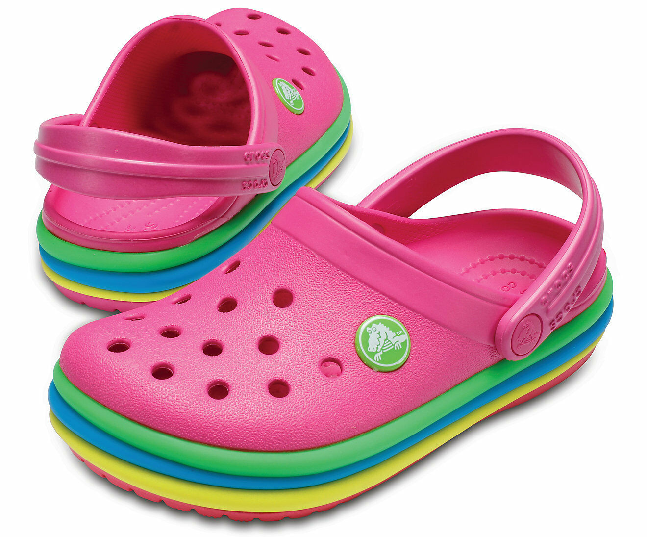 70af5a723 Crocs Crocband Rainbow Band Clogs Kids Childrens Clog Shoes Summer Casual  Pink