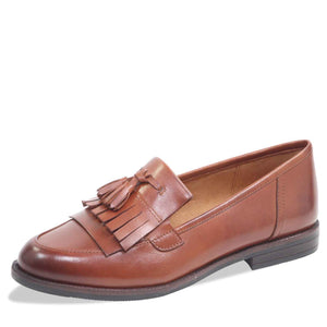 Caprice 9-24200-21 303 Cognac Brown Womens Slip On Leather Loafers Casual Shoes