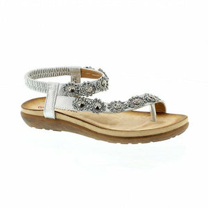 Heavenly Feet Lulu Silver Womens Stylish Rinestone Flats Holiday Summer Sandals