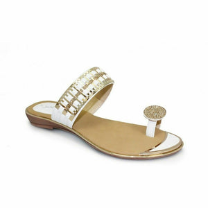 Lunar Elba JLH914 Summer Sandals Gemstone Top Loop Slip On Comfy Gold White