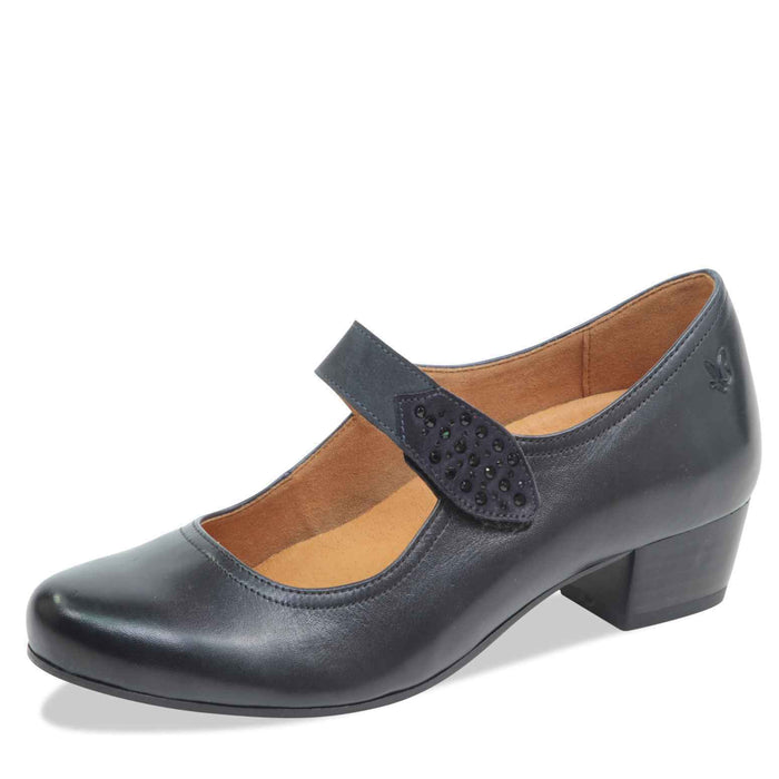 Caprice 9-24304-21 853 Ocean Navy Nappa Leather Womens Smart Loafers Court Shoe