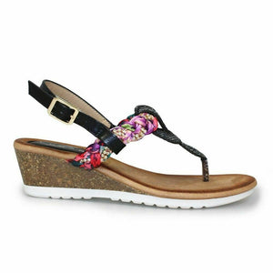 Lunar Aster Black Women's Wedge Slingback with Buckle Toe Post Diamante Sandals