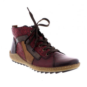 Remonte R4777-35 Red Burgundy Womens Zip Ankle Boots Lace Up Leather Comfy