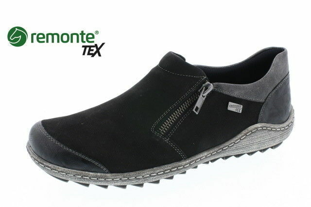 Remonte R1403-02 Black Womens Ladies Casual Flat Shoes Suede Leather Zip