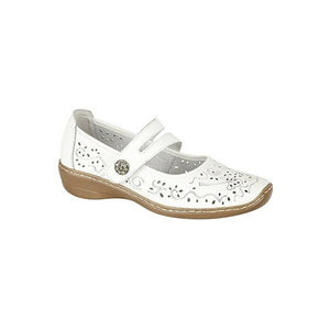Boulevard L394G White Women's Touch Fastening Casual Comfy Real Leather Shoes