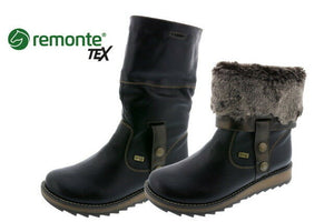 Remonte D8874-01 Black Ankle and Knee High Boots Faux Fur Zip Water Resistant