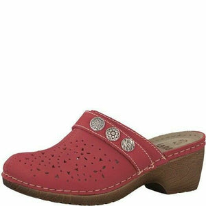 Jana 8-27303-20  Womens Clog Wedge Leather Red Mule Slip On Ladies Sandal  G Fit