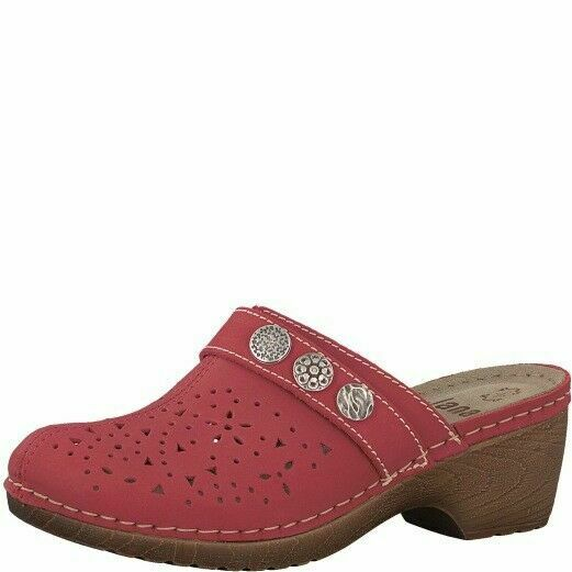 4a6a5cf4f828c Jana 8-27303-20 Womens Clog Wedge Leather Red Mule Slip On Ladies Sandal G  Fit