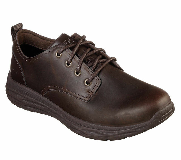 Skechers 65764 Chocolate Men's Oiled Leather Casual Lace Up Shoes Memory Foam
