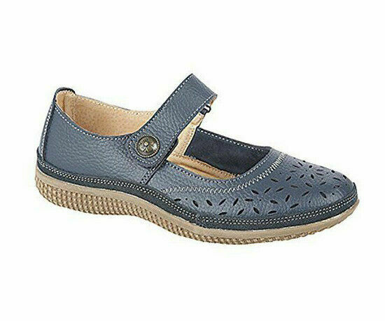 Boulevard L408C Women Wide Fit EEE Casual Touch Fasten Real Leather Shoes Navy