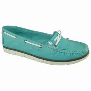 Heavenly Feet Cherry Turquoise Women's Slip On Real Leather Casual Shoes