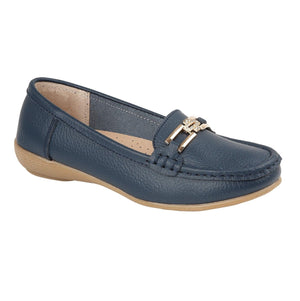 Jo & Joe Santa Cruz Slip On Real Leather Loafers Moccasins Shoes Casual Navy