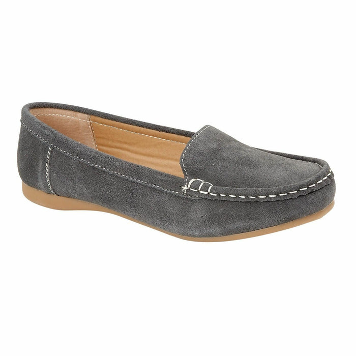 Jo & Joe Mykonos Grey Womens Slip On Real Suede Leather Casual Loafers Moccasins Shoes
