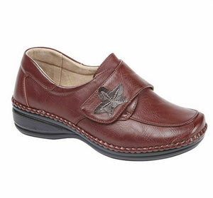 Boulevard L712D Womens Extra Wide Fit EEE Casual Smart Shoes Touch Fastening Red