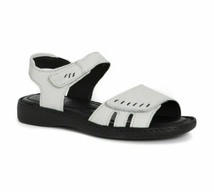 Josef Seibel Lisa 01 Womens Twin Fastening Summer Sandals Real Leather Off White