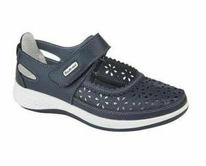 Boulevard L9552NC Azure Navy Womens Wide Fitting EEE Casual Comfy Shoes Leather Azure Navy