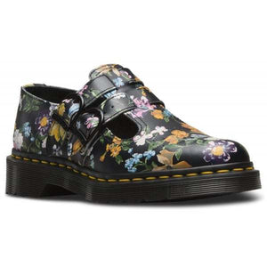 Dr Martens Womens 8065 90s Print Darcy Floral Black Real Leather Backhand Shoes