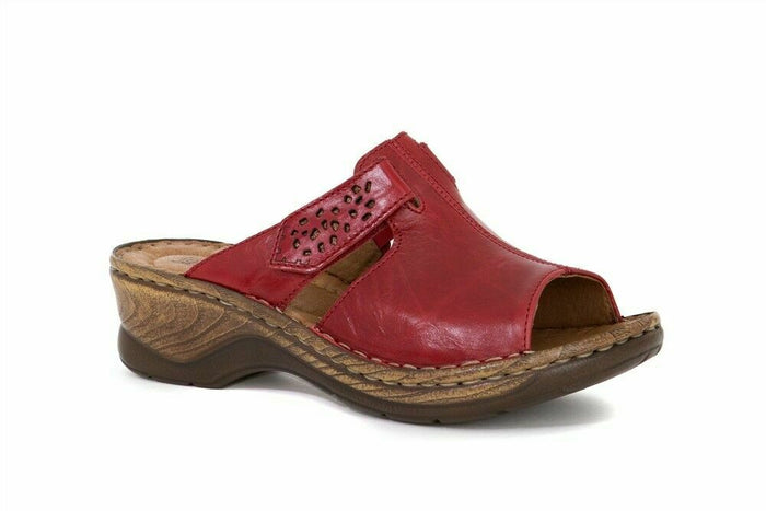 Josef Seibel Catalonia 32 Red Women's Slip On Touch Fasten Clogs Mules Sandals