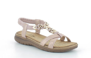Heavenly Feet Whitney Pink Women's Open Toe Metal Design Elasticated Sandals
