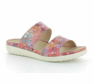 Heavenly Feet Dahila Womens Comfy Metallic Floral Summer Mules Sandals Red