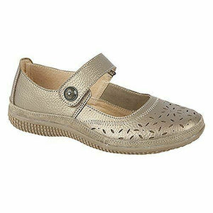 Boulevard L408A Women Wide Fit EEE Casual Touch Fasten Real Leather Shoes Bronze Shoe centre Dawlish