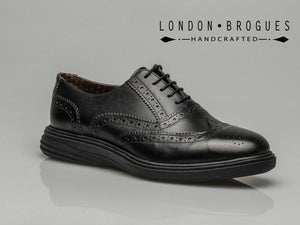 London Brogues Geoffrey Mens Leather Casual Smart Lace Up Brogues Shoes Black