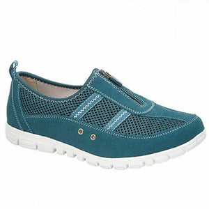 Boulevard L430E Womens Extra Wide Fitting EEE Casual Comfy Leather Shoes Teal Shoe Centre Dawlish
