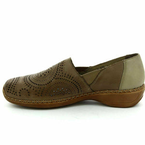 Rieker 41395-20 Womens Ladies Slip On Real Leather Casual Cut Out Shoes Brown