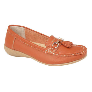 Jo & Joe Nautical Orange Women's Slip On Leather Loafers Moccasin Casual Shoes