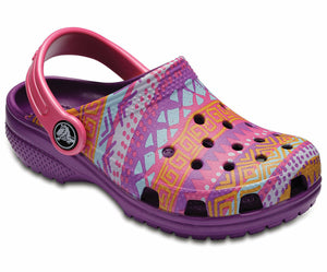 Crocs Classic Graphic Clog Kids Boys Girls Casual Comfy Slip On Printed Amethyst