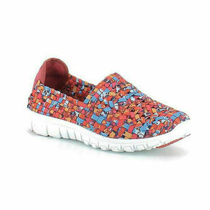 Heavenly Feet Lizzy Womens Slip On Woven Sandals Shoes Memory Foam Red Multi