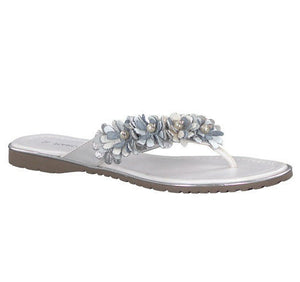 Marco Tozzi 2-27111-20 890 Womens Toe Post Flip Flops Sandals Floral Pearl White