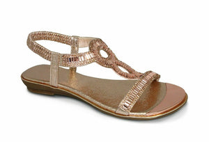 Lunar Samantha JLH882 Jewelled Flat Sandals Occasion Wedding Rose Gold/Pink